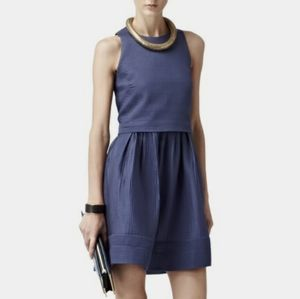 Reiss Inda Quilted Fit & Flare Dress Size 8